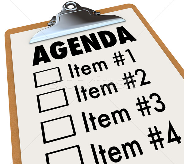 Agenda on Clipboard Plan for Meeting or Project Stock photo © iqoncept