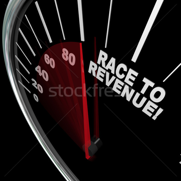 Stock photo: Race to Revenue Rising Speedometer Needle Profits