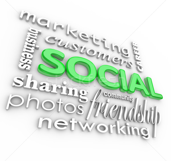 Sociale 3D mots communauté affaires marketing Photo stock © iqoncept