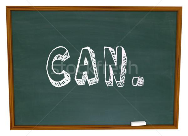 Kan krijt woord vertrouwen schrijven schoolbord Stockfoto © iqoncept