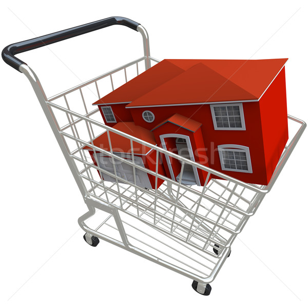 Vásárol ház bevásárlókocsi piros otthon fényes Stock fotó © iqoncept
