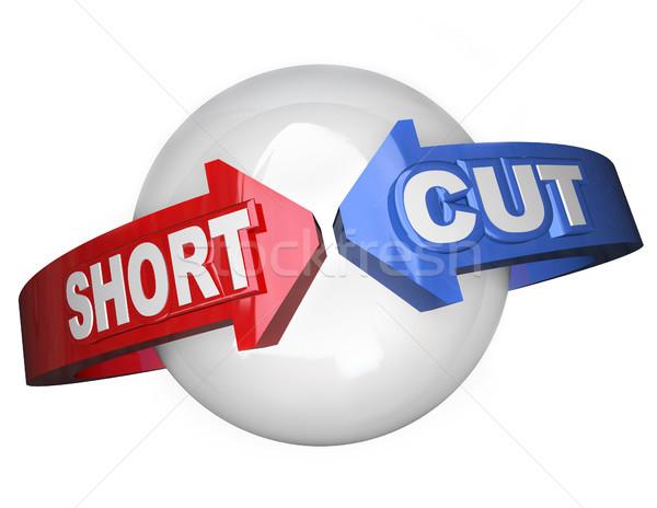 Short Cut Words Around Sphere Shortcut Easy Route Stock photo © iqoncept