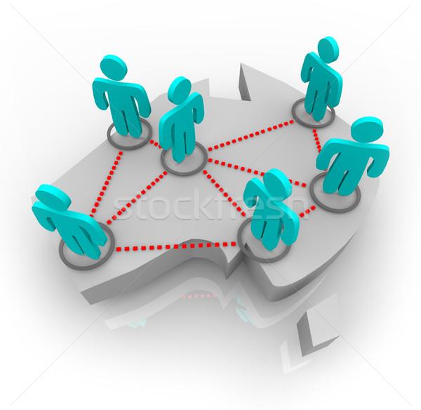 Térkép Ausztrália hálózat emberek társasági profi Stock fotó © iqoncept