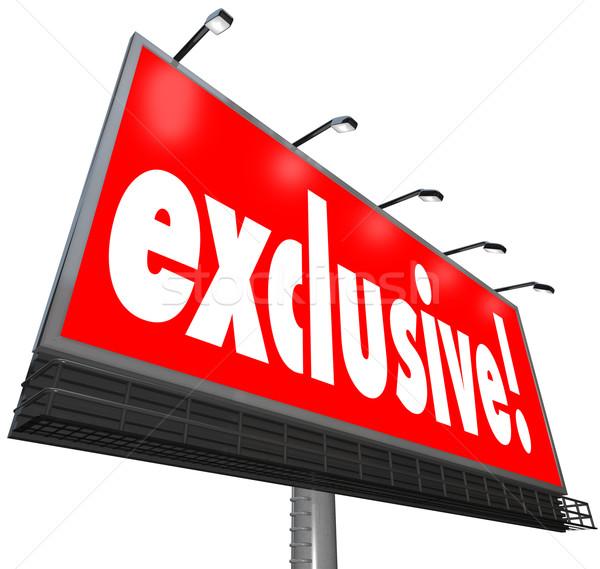 Exclusief woord billboard teken speciaal beperkt Stockfoto © iqoncept
