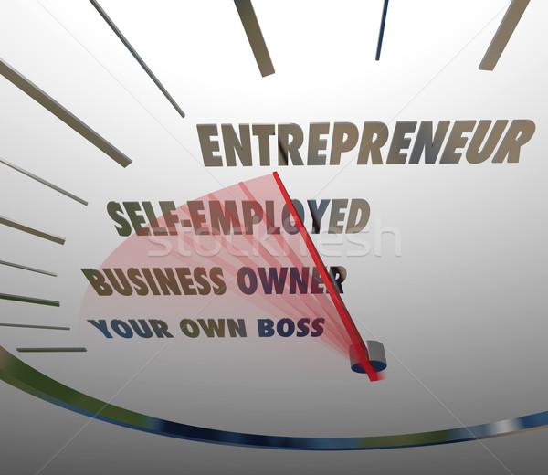 Entrepreneur Speedometer Reach New Level Business Owner Words Stock photo © iqoncept