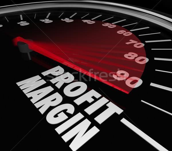 Stock photo: Profit Margin Speedometer Measuring Rising Income Net Money Earn