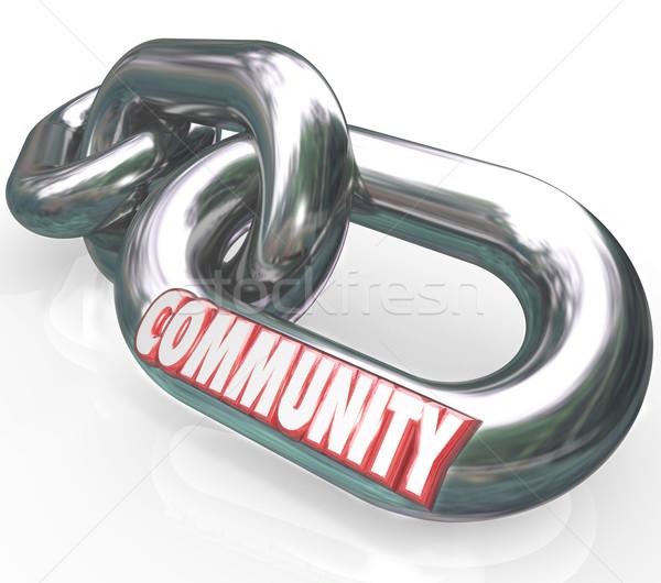 Społeczności słowo łańcucha linki społeczeństwo wraz Zdjęcia stock © iqoncept