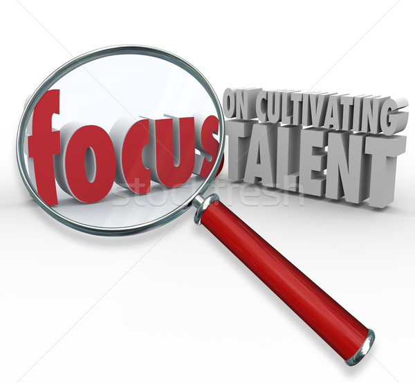 Focus on Cultivating Talent Words Magnifying Glass Finding Emplo Stock photo © iqoncept