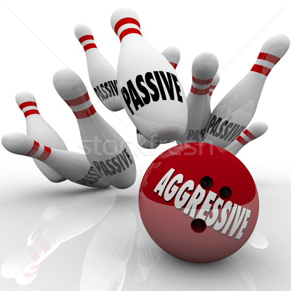 Aggressive Bowling Ball Striking Passive Pins Competitor Stock photo © iqoncept