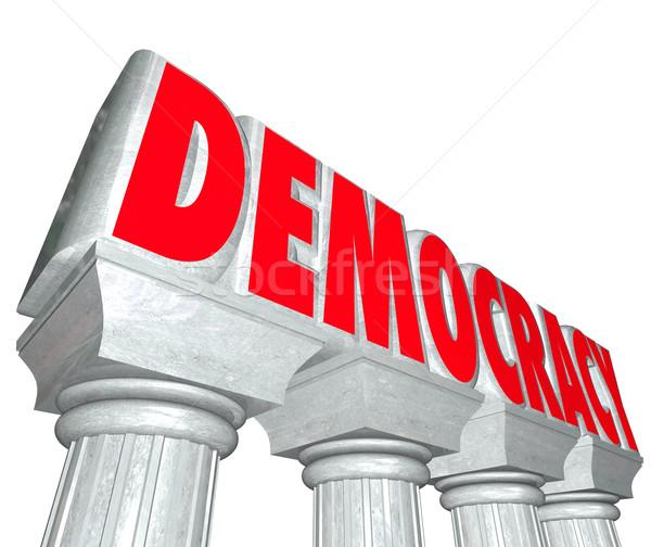 Democratie woord 3D brieven kolommen vrijheid Stockfoto © iqoncept