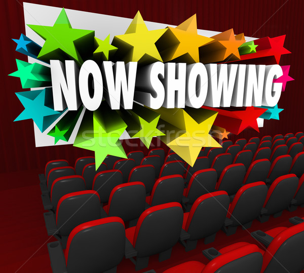 Now Showing Words Movie Screen Attend Viewing Event Webinar Audi Stock photo © iqoncept