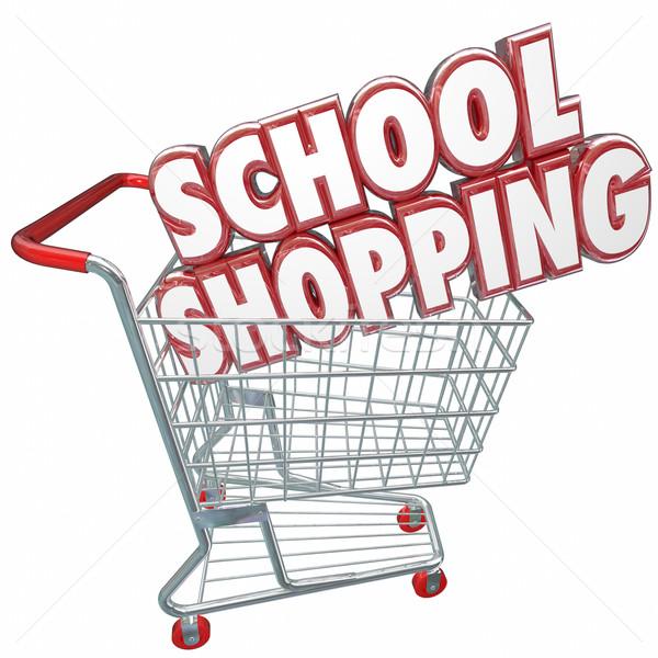 Iskola vásárlás 3D szavak kosár legjobb Stock fotó © iqoncept