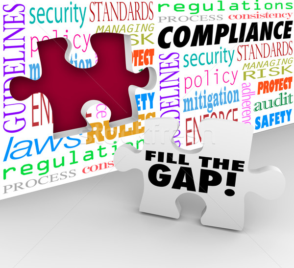 Fill the Compliance Gap Puzzle Wall Hole Follow Rules Laws Regul Stock photo © iqoncept