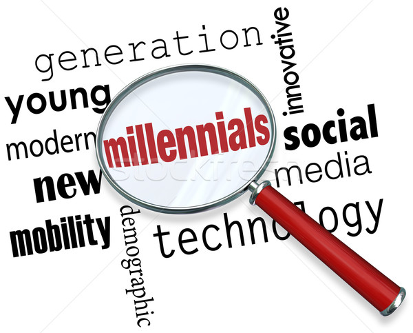 Millennials Magnifying Glass Words Young Generation Technology S Stock photo © iqoncept