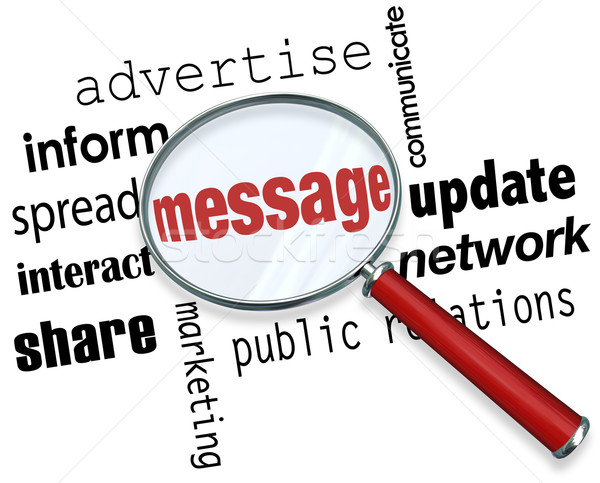 Message Magnifying Glass Words Advertising Marketing Interaction Stock photo © iqoncept