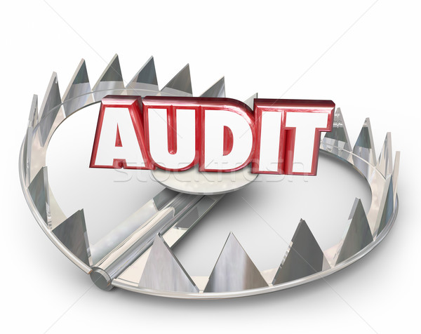 Audit Red 3d Word Steel Bear Trap Danger Warning Tax Review Stock photo © iqoncept
