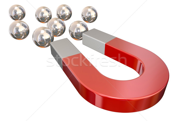 Magnet Pulling Ball Bearings Physical Attraction Stock photo © iqoncept