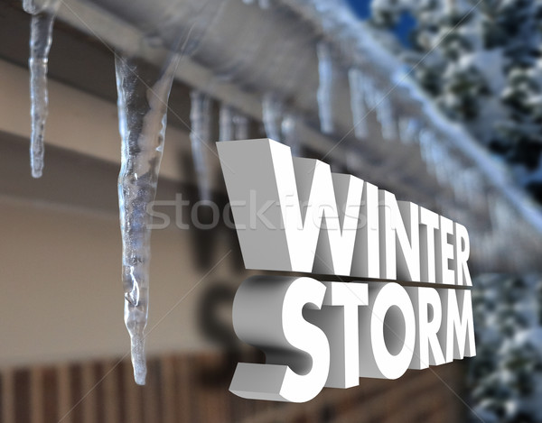Winter Storm Icicles Snow Weather Warning Freezing Temperature Stock photo © iqoncept