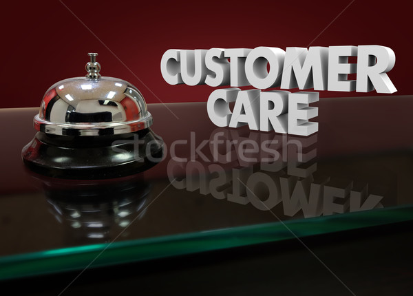 Customer Care 3d Words Bell Lobby Desk Help Assistance Stock photo © iqoncept
