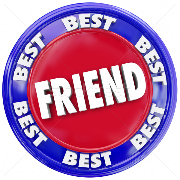 Friend Word Friendship Seal Button Circle Symbol  Stock photo © iqoncept