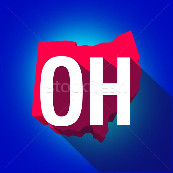 Ohio levelek rövidítés piros 3D térkép Stock fotó © iqoncept
