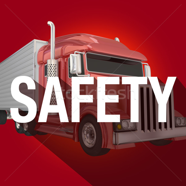 Safety Word Long Shadow Truck Driving Security Stock photo © iqoncept