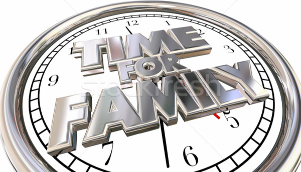 Stockfoto: Tijd · familie · klok · kinderen · leuk