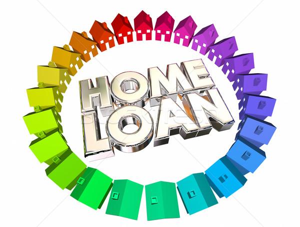 Woningkrediet geld hypotheek kopen huis 3d illustration Stockfoto © iqoncept