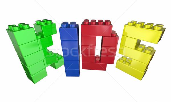 Gyerekek szó levelek építőkockák játék idő Stock fotó © iqoncept