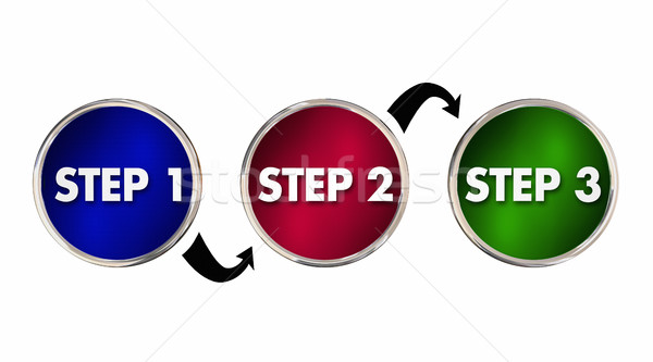 Steps 1 2 3 One Two Three Instructions Circles 3d Illustration Stock photo © iqoncept