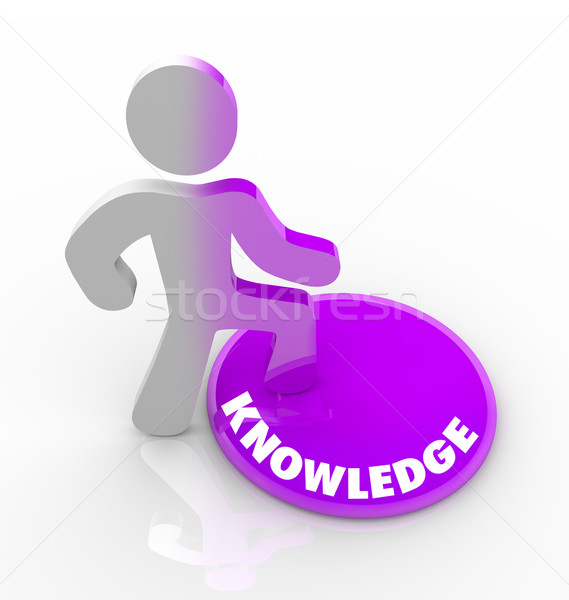 Person Stepping Onto Knowledge Button Stock photo © iqoncept