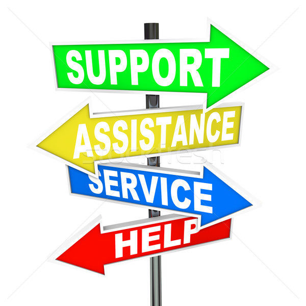 Service Assistance Support Help Arrow Signs Point to Solution Stock photo © iqoncept