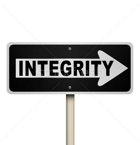 Integrity Word One-Way Street Road Sign Stock photo © iqoncept