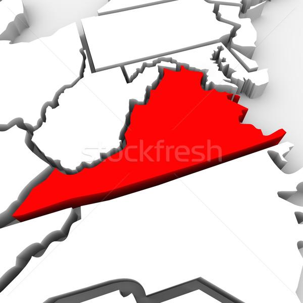 Виргиния красный аннотация 3D карта Соединенные Штаты Сток-фото © iqoncept