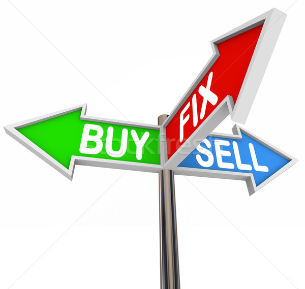 Stock photo: Buy Fix Sell Three Way Street Signs Flipping a Home Real Estate
