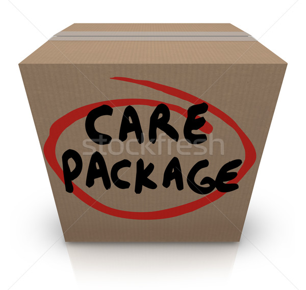 Care Package Cardboard Box Words Support Emergency Aid Stock photo © iqoncept