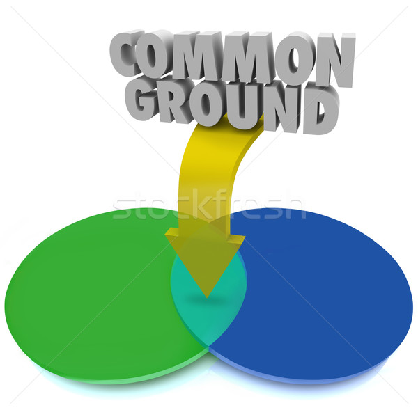 Common Ground Venn Diagram Shared Interest Agreement Compromise Stock photo © iqoncept
