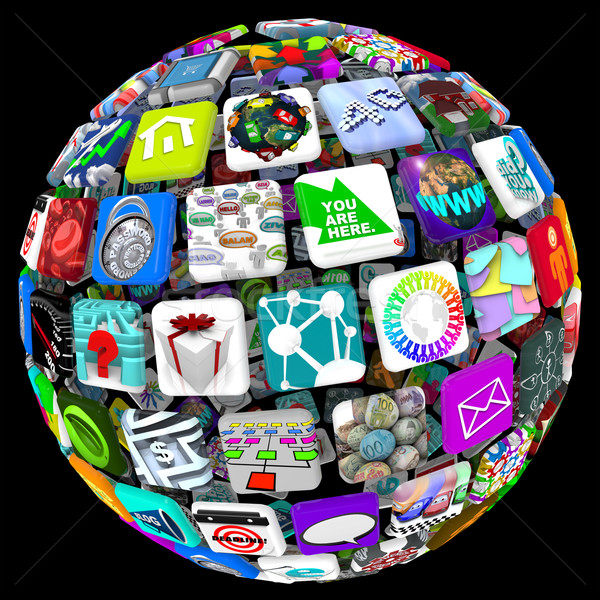 Apps in Sphere Pattern - World of Mobile Applications Stock photo © iqoncept