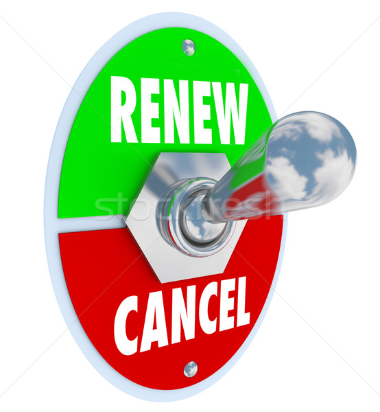 Renew Vs Cancel Words Product Service Renewal Cancellation Stock photo © iqoncept