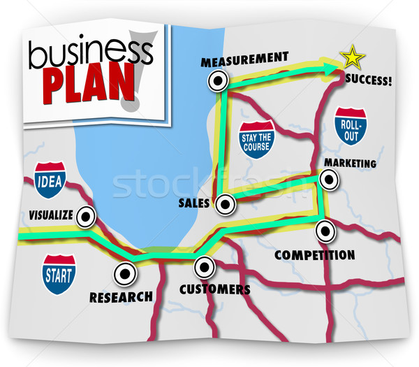 Map Start Up Success Road Directions Launch New Business Company Stock photo © iqoncept