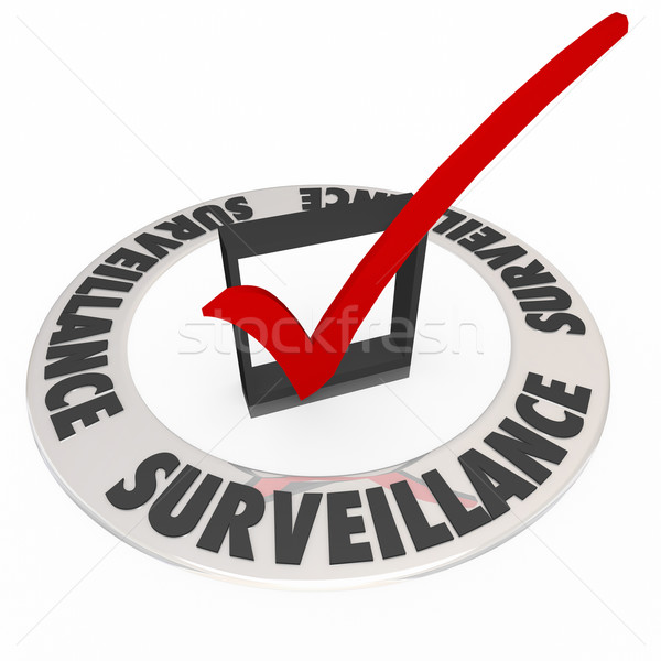 Surveillance Check Box Ring Words Security Safety Stock photo © iqoncept