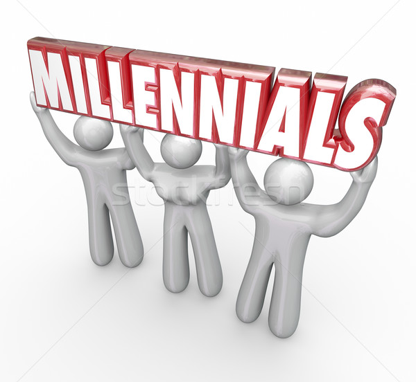 Millennials 3 Young People Lifting Word Youth Marketing Stock photo © iqoncept