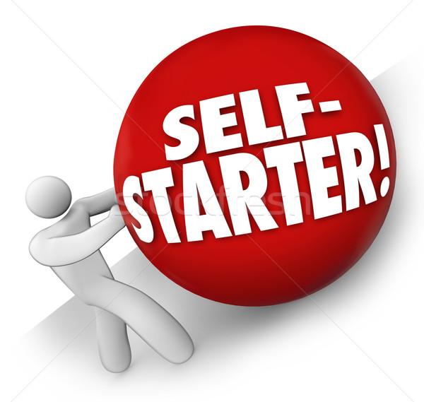 Self-Starter Man Rolling Ball Uphill Entrepreneur Startup Busine Stock photo © iqoncept