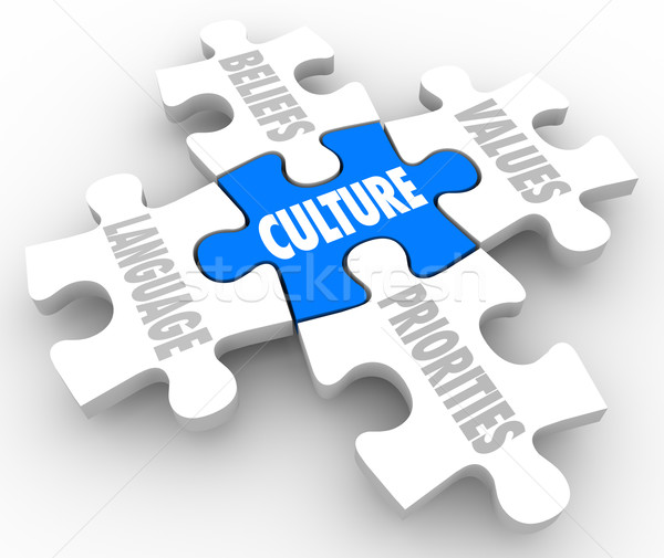 Cuture Puzzle PIeces Beliefs Language Social Values Priorities Stock photo © iqoncept