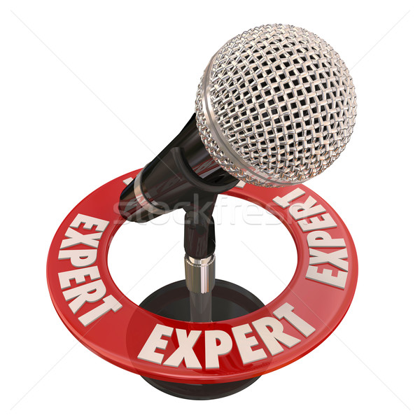Expert Microphone Knowledge Wisdom Interview Public Speaking Stock photo © iqoncept