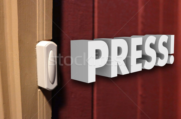 Press 3d Word Doorbell  Visitor Guest Arrive  Stock photo © iqoncept