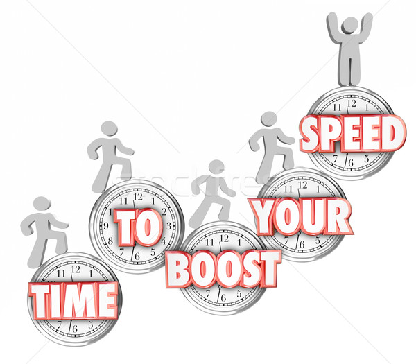 Time to Boost Your Speed Words Clocks People Increasing Fast Stock photo © iqoncept