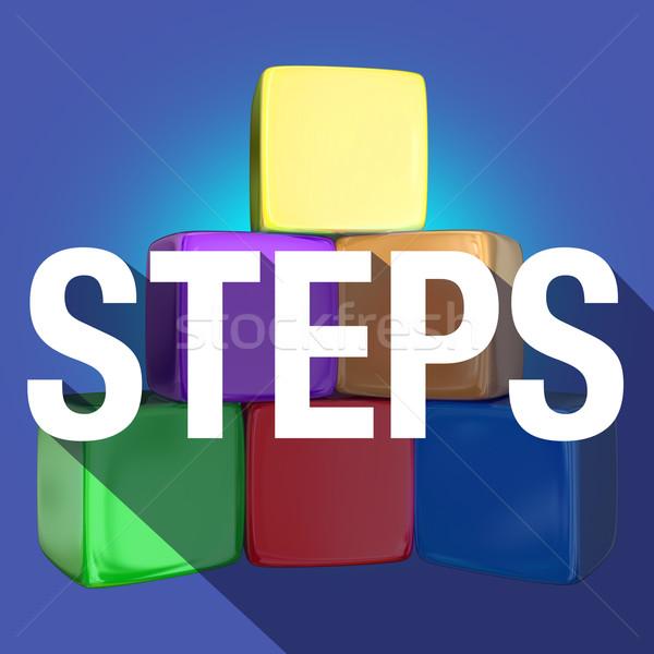 Steps Blocks Cubes Pyramid Long Shadow Word Stock photo © iqoncept