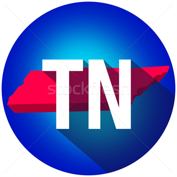 Tennessee TN Letters Abbreviation Red 3d State Map Long Shadow C Stock photo © iqoncept