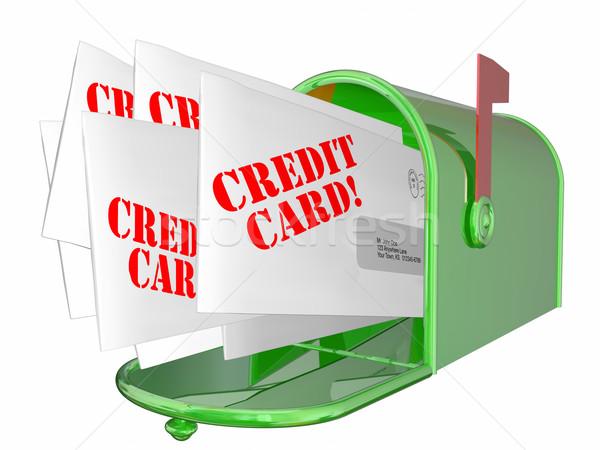 Stockfoto: Creditcard · promotie · brieven · mailbox · 3D · geld